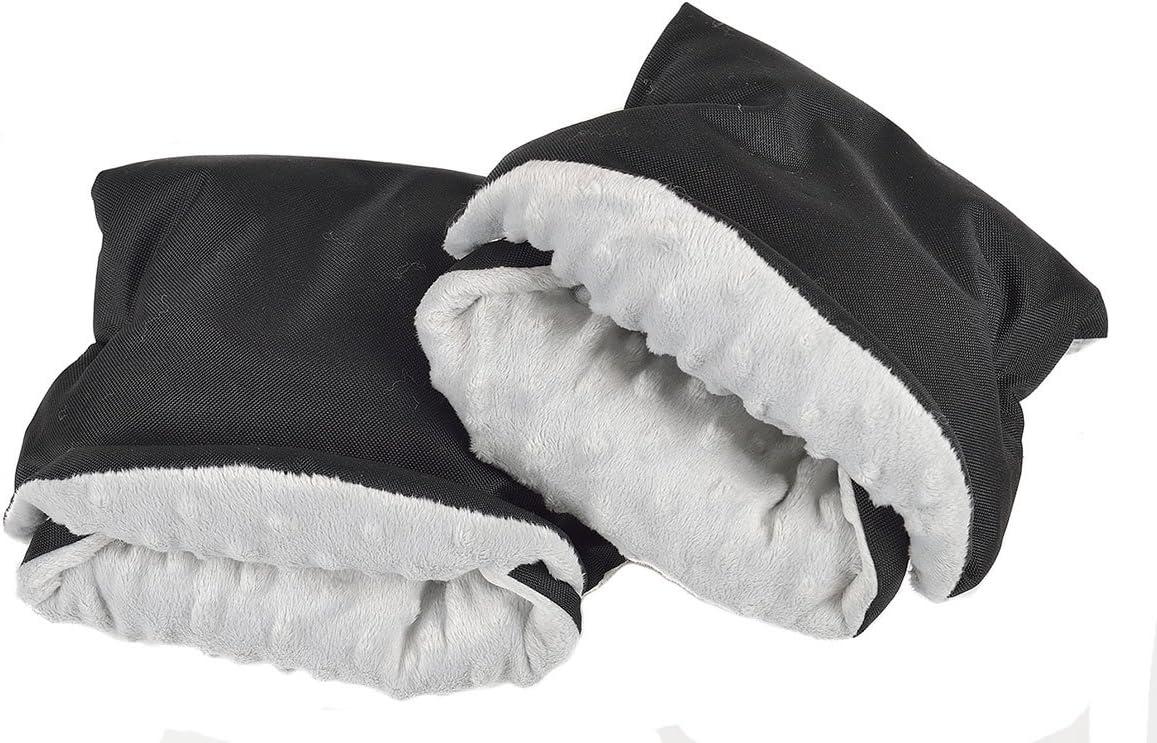 073 Muff para manos Muff con c/álido gruesa impermeable anticongelante paseo guantes Cochecito de beb/é mano muff Polar Minky Black