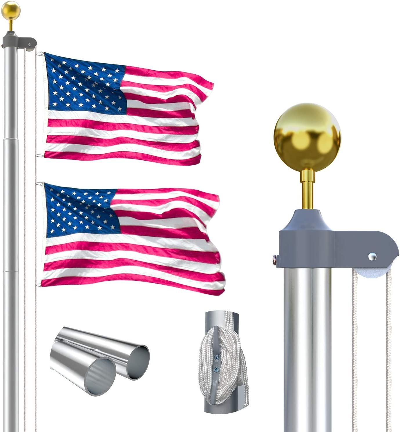 25FT Sectional Flag Pole Kit, Extra Thick Heavy Duty Aluminum Flagpole Set Outdoor in Ground Flag Poles with 3x5 USA Flag for Residential or Commercial,Silver