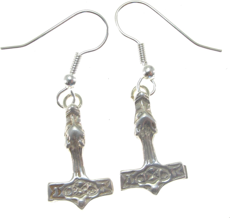 Sterling Silver Thor/'s Hammer Earrings