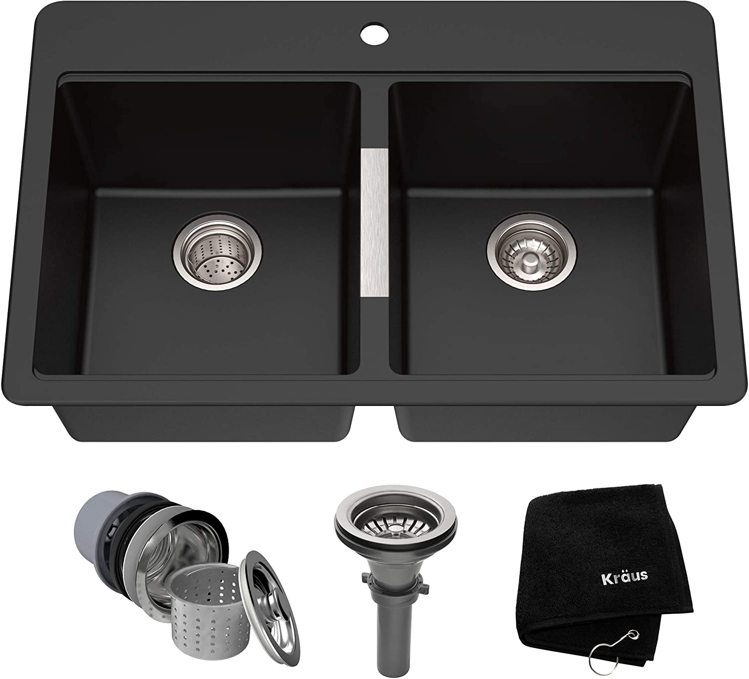 Kraus KGD-433B 33 1 2 inch Dual Mount 50 50 Double Bowl Black Onyx Granite Kitchen Sink