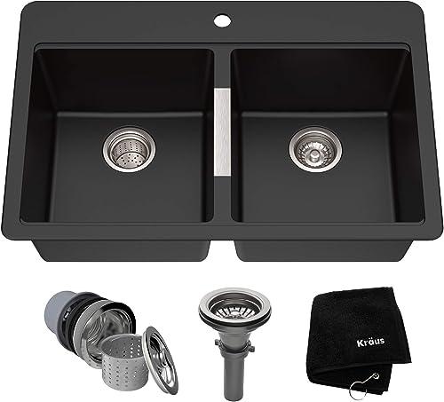 Kraus Quarza Kitchen Sink 33-Inch Equal Bowls Black Onyx Granite KGD-433B model