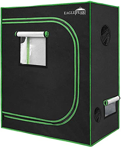 EAGLE PEAK 48 x 24 x 60 Mylar Hydroponic Grow Tent, Reflective Durable 600D Oxford Fabric with Observation Window and Floor Tray for Indoor Gardening Plant Germination 4 X2