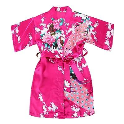 WONDERFIT Girls Stain Kimono Peacock Flower Robe