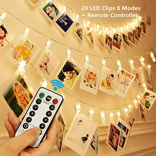 20 LED Photo Clip String Lights, KingYue 8 Modes Fairy String Lights with Remote Timer Function, Home Party Christmas Decor Lights for Hanging Photos Pictures, Cards, Memos and Artwork, Warm White