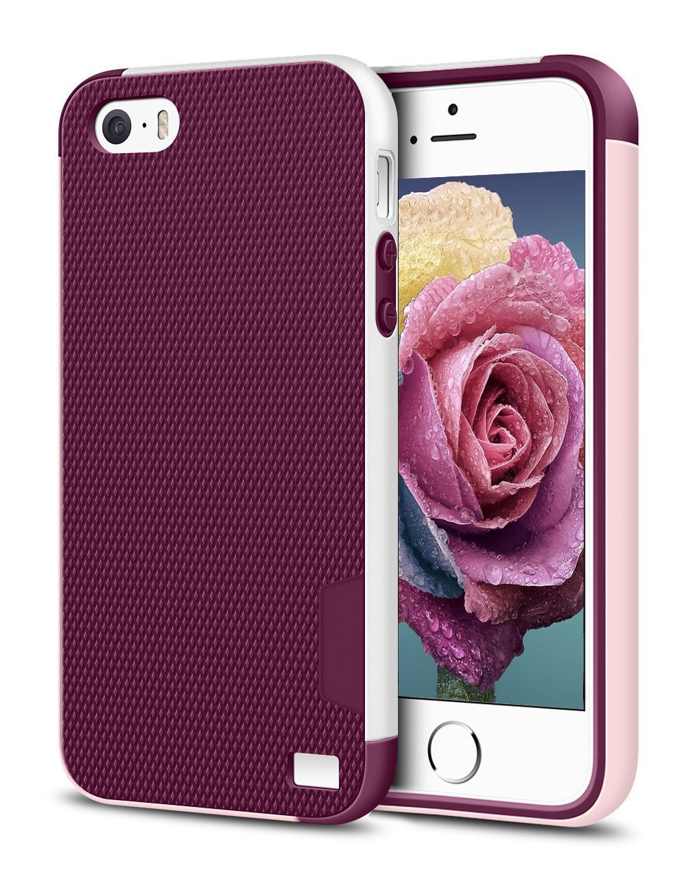 EXSEK iPhone 5/5S SE(2016) Case, Hybrid Impact Ultra Slim 3 Color Shockproof Case [Anti-Slip] [Extra Front Raised Lip] Scratch Resistant Soft Gel Bumper Rugged Case for iPhone 5/5S (Wine Red)