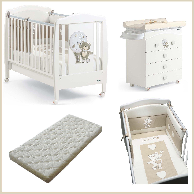 Lotto Kinderbett aus Holz + Wickelkommode Kommode + Bettdecke Nestchen Bär 219Cam + Matratze Simply BIANCO