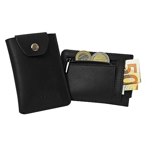 Estuche para tarjetas de cuero BelliBiz Premium Sydney | Mini billetera para 6-8 tarjetas de crédito | Billetera delgada con monedero para hombre y ...