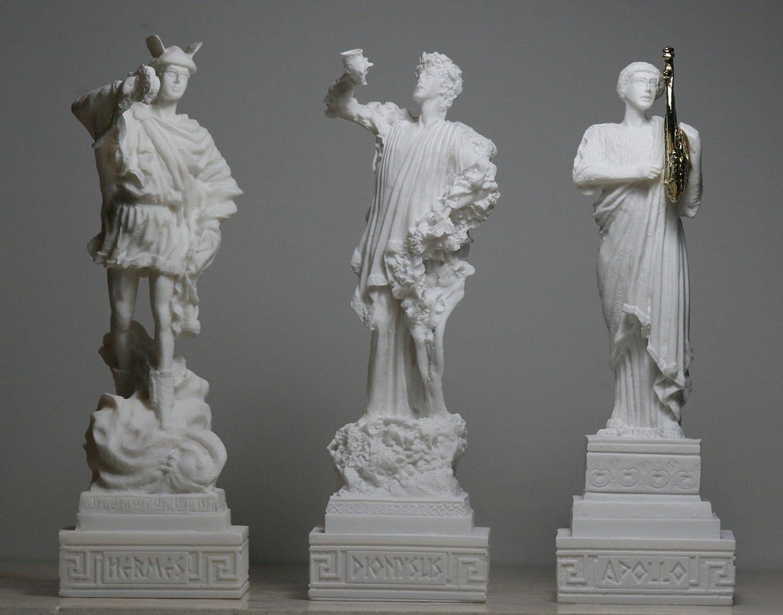 Dionysos (Bacchus) Hermes Apollo Set 3 Götter Alabaster Statue Skulptur Figur