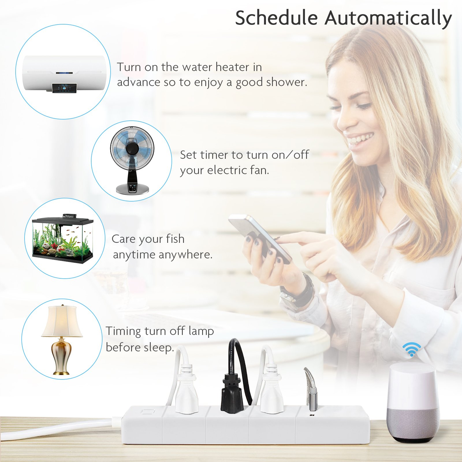 Smalux WiFi Smart Power Strip Socket Compatible with Alexa/Google Home/IFTTT, 3 AC Outlets2 USB Port,Remote Control and Timing Function Voice Control,No Hub Required,Surge Protector,White
