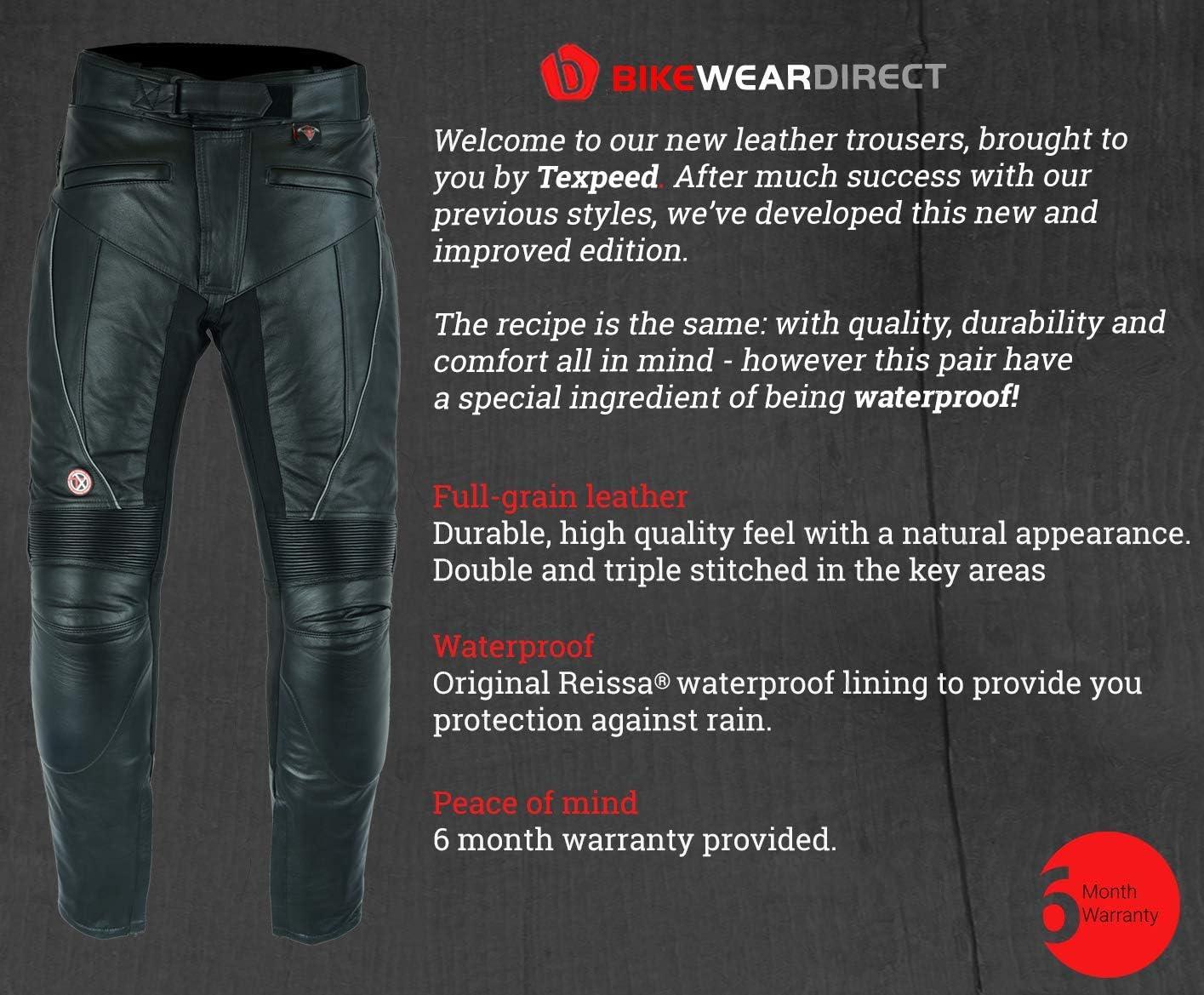 cuir//imperm/éable avec renforts noir Texpeed Pantalon de moto pour homme