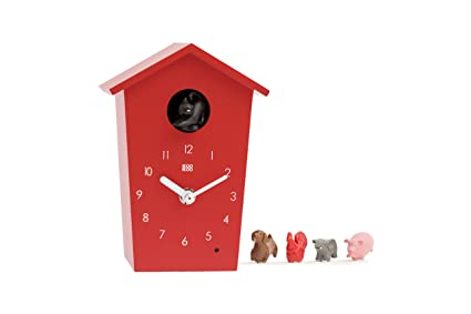 KooKoo AnimalHouse red, Striking Small Cuckoo Clock with 5 Farm Animals Sounds, Natural Field