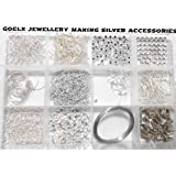 Goelx DIY Findings Silver Jewellery Making Accessories Kit- All Basic Silver Jewellery Materials with Free Storage Box