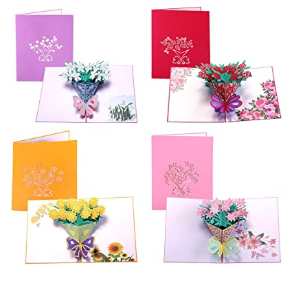 Amazon Paper Spiritz Pop Up Cards 4 Set Flowers Mothers Day