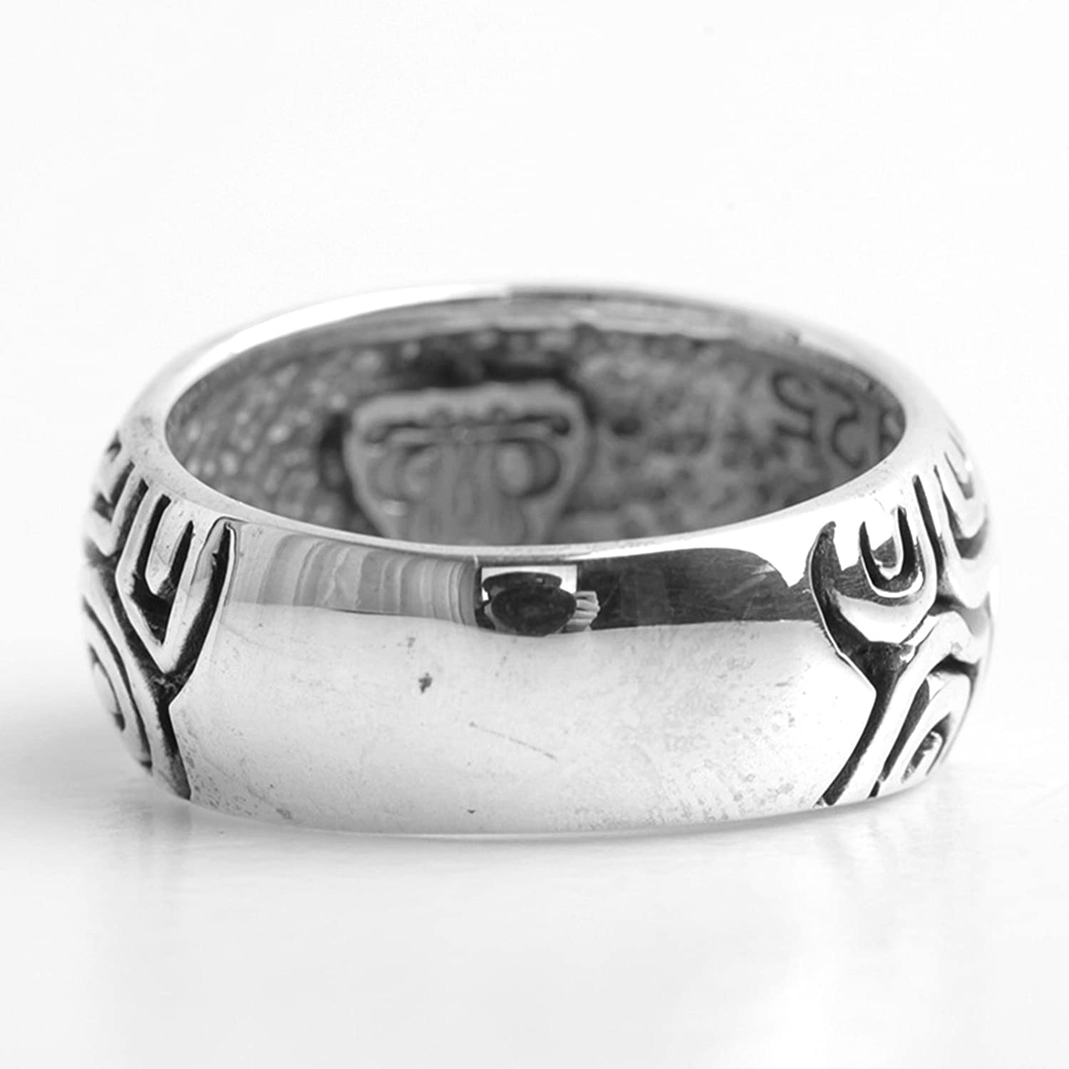 Epinki 925 Sterling Silver Punk Rock Vintage Gothic Personalized Totem Ring for Men Fashion Men Accessories