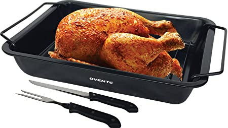 Ovente CWR20092B Non-Stick Roasting pan with Carving Set, 12 x 9 inches, Black
