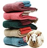 NEW 5 Pairs Women's 80% Sheep Wool Winter Knit Warm Causal Socks High Quality