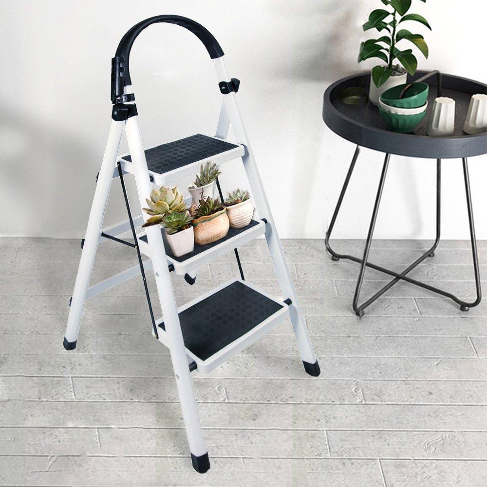 Gimify 3 Step Ladder Household Folding Steel Frame Stool Platform Ladder Anti-Slip Portable White (3 Step) by Gimify (Image #2)