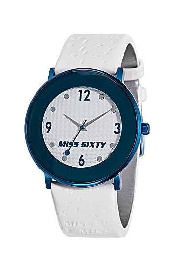Miss Sixty SQD001 - Reloj analógico de Cuarzo para Mujer con Correa de Piel, Color Blanco: Amazon.es: Relojes