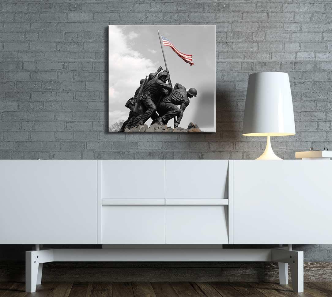 Canvas art black and white photograph with pop of color