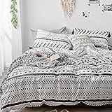"VClife Cotton White Duvet Cover Full Black Stripe Boho Duvet Cover (90""x 90"") with Two Pillow Cases, Lightweight Breathable M"