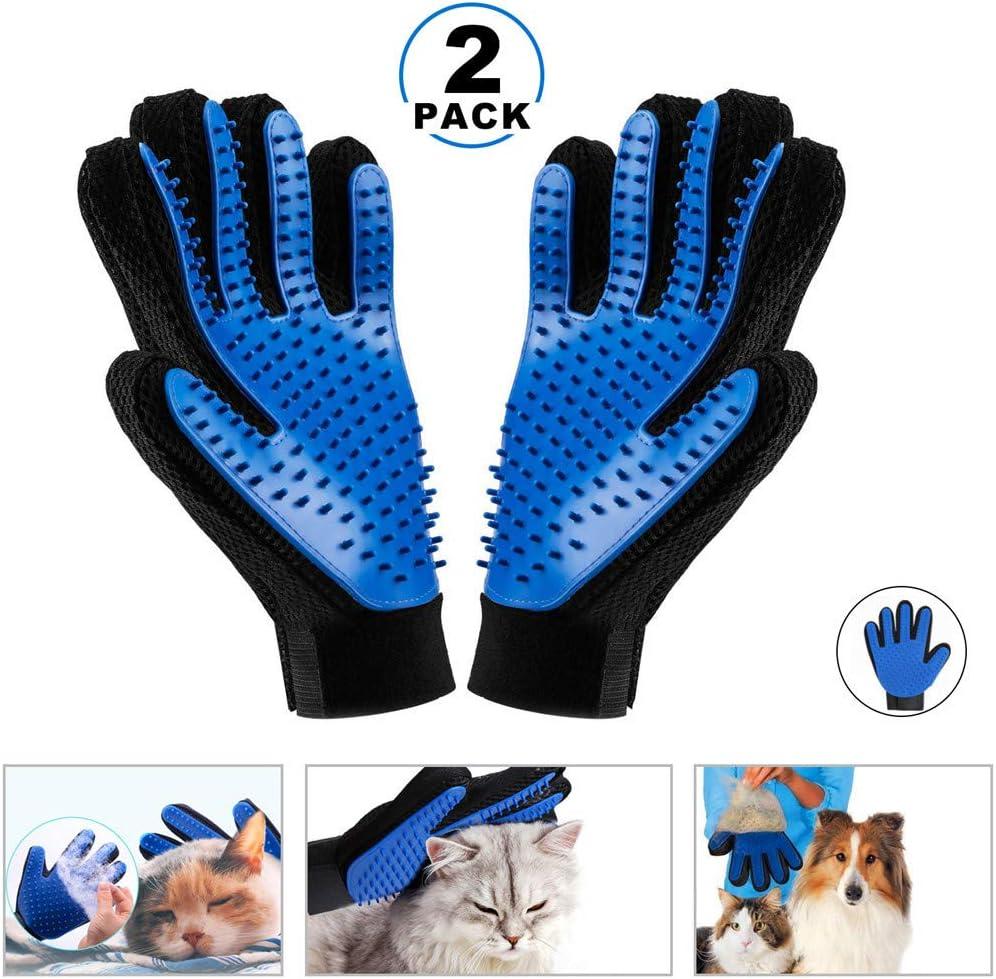 KAIHONG 2 Guantes Masaje para Mascotas Perros Gatos Manopla Masaje para Mascotas Retiro del Pelo Aparato de Masaje Baño de Cepillo y Peine (Azul)