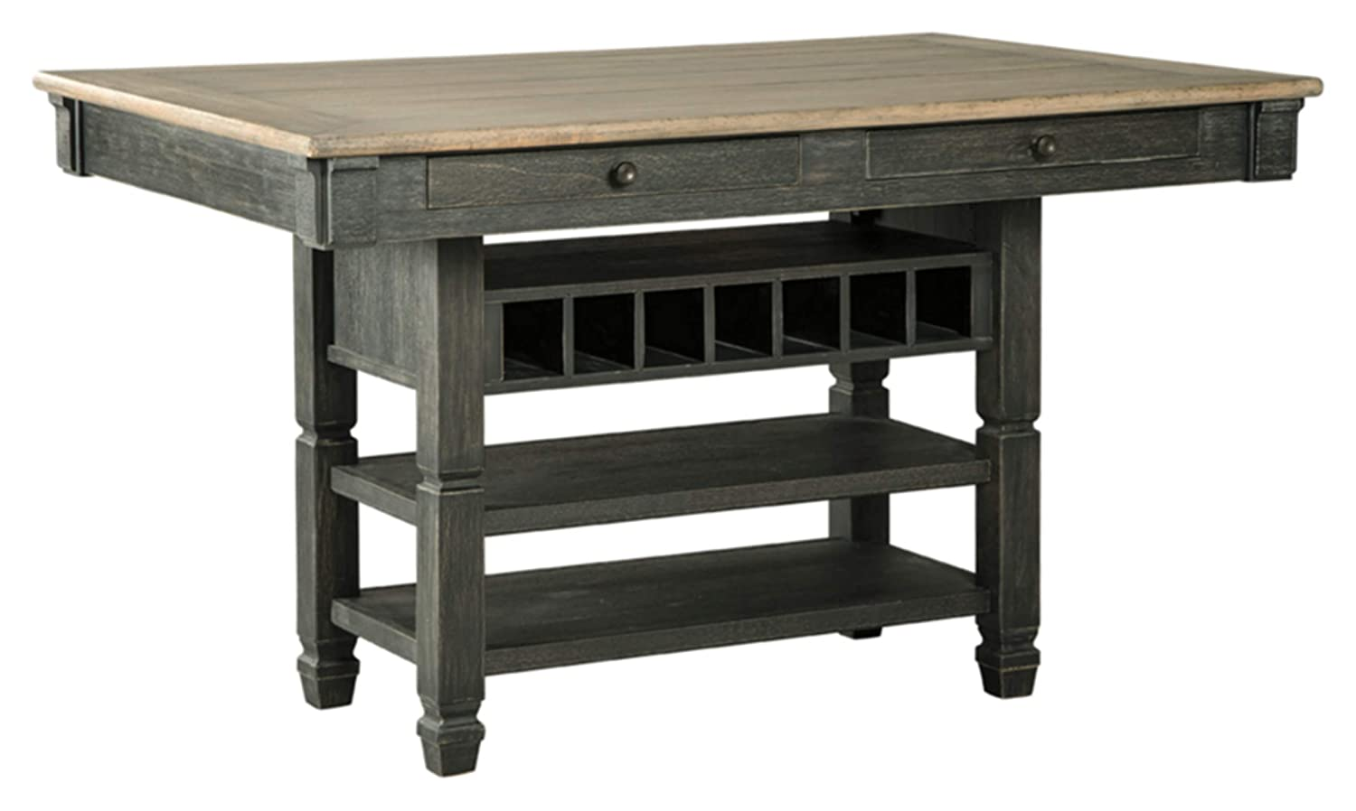Signature Design By Ashley – Tyler Creek Counter Height Dining Room Table – Black Gray