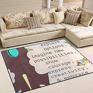 LORVIES Makerspace Quotes Area Rug Carpet Non-Slip Floor Mat Doormats for Living Room Bedroom 80 x 58 inches
