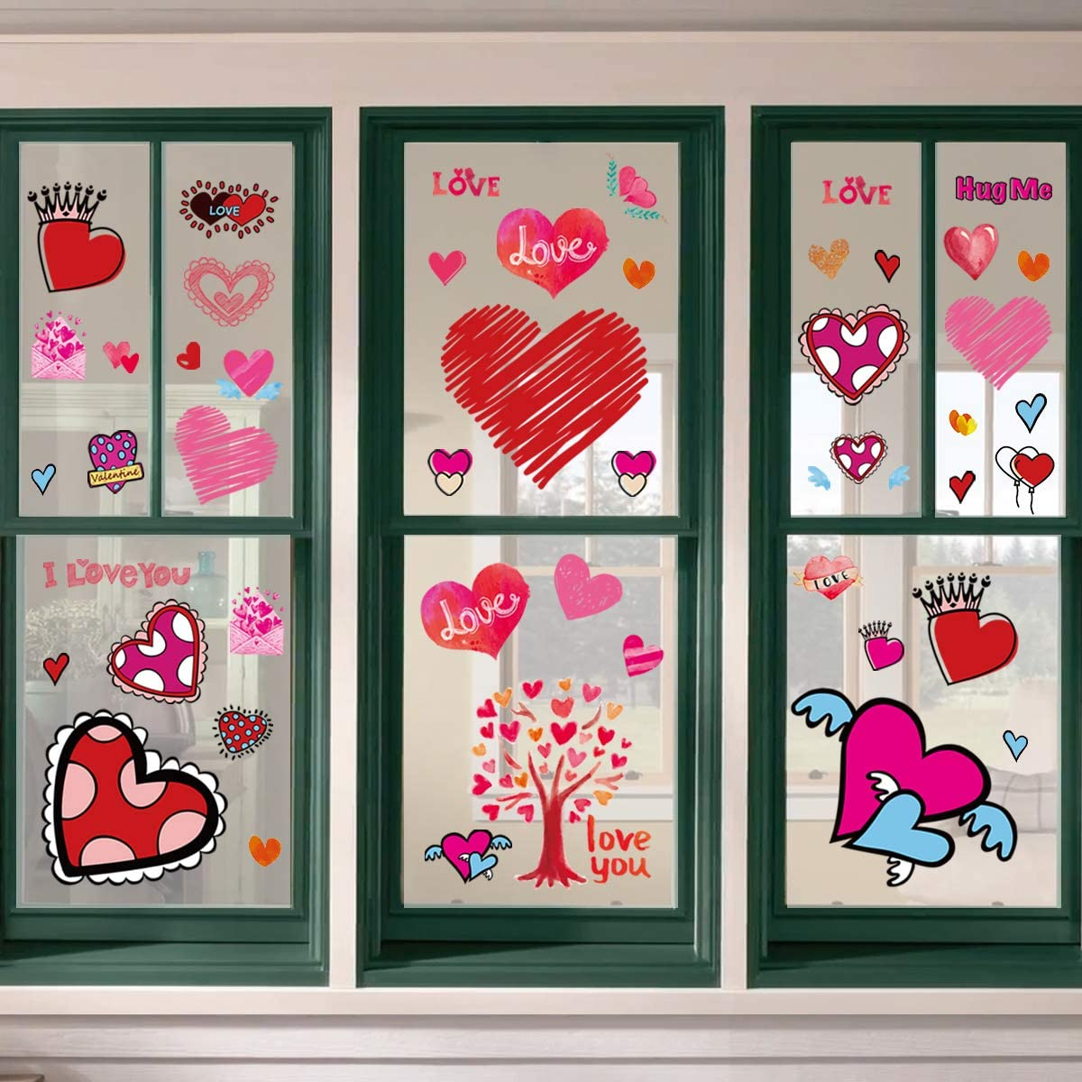 Ivenf Valentines Day Decorations Extra Large Heart Window Clings Decor, Kids School Home Office Valentines Hearts Accessories Birthday Party Supplies Gifts, 6 Sheet 57pcs