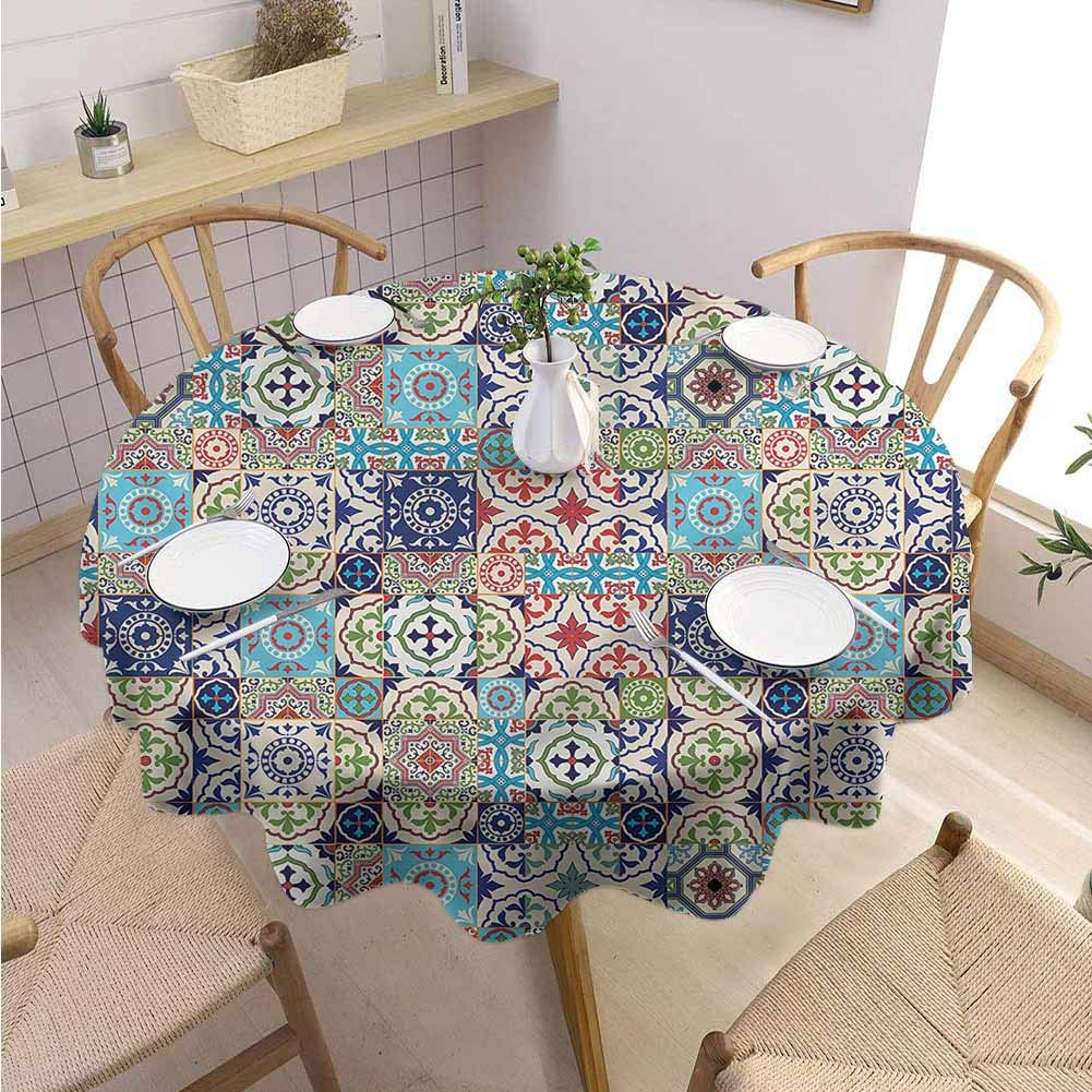 BNAREO Garden Round Tablecloth Patchwork Ancient Azulejo Tiles Parties Wedding Patio Dining D55 by BNAREO