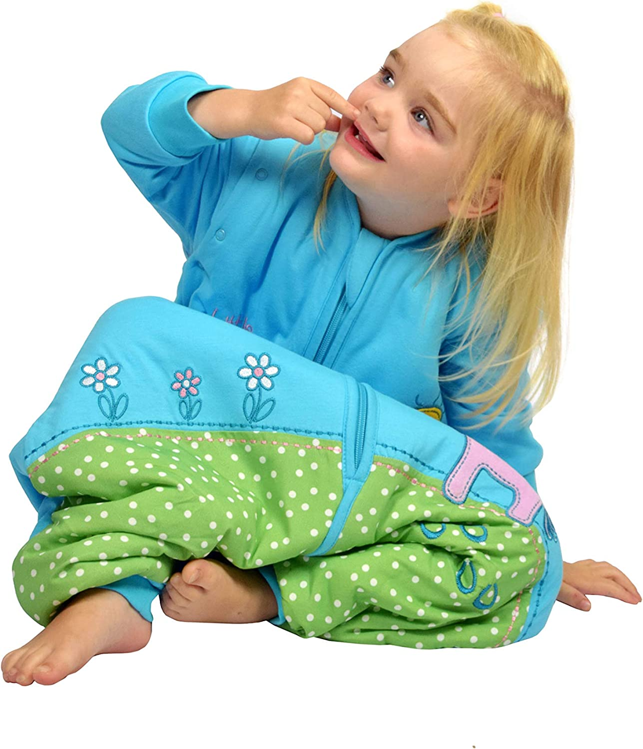 Slumbersac Sleeping Bag with Feet and Non Slip-Soles with Poppers Removable Long Sleeves 2.5 Tog Blue Elephant 6-12//70cm