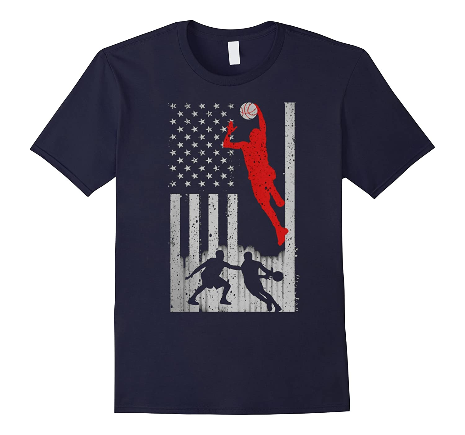Basketball T-shirts - Basketball US Flag Tshirt-CL