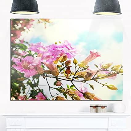 Design Art MT12344 40 30 Pink Flowers In Hawaiian Garden Large Flower  Glossy Metal
