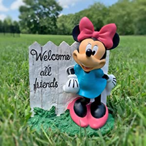 The Galway Company Minnie Mouse White Fence Garden Statue, 7 Inches Tall, Hand-Painted, Official Disney Licensed Product