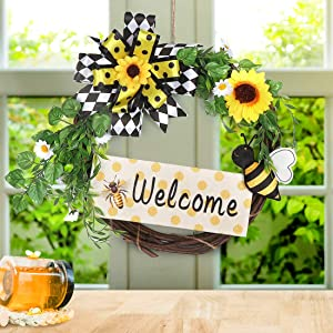 QTDLXFA Wreath 14 Inches, Artificial Sunflower , Green Leaves & Bee Honey, Welcome Sign, Spring Summer Autumn Decoration, Front Door Wall Window Wreath, Rustic Outdoor Home Decor (Yellow & White)