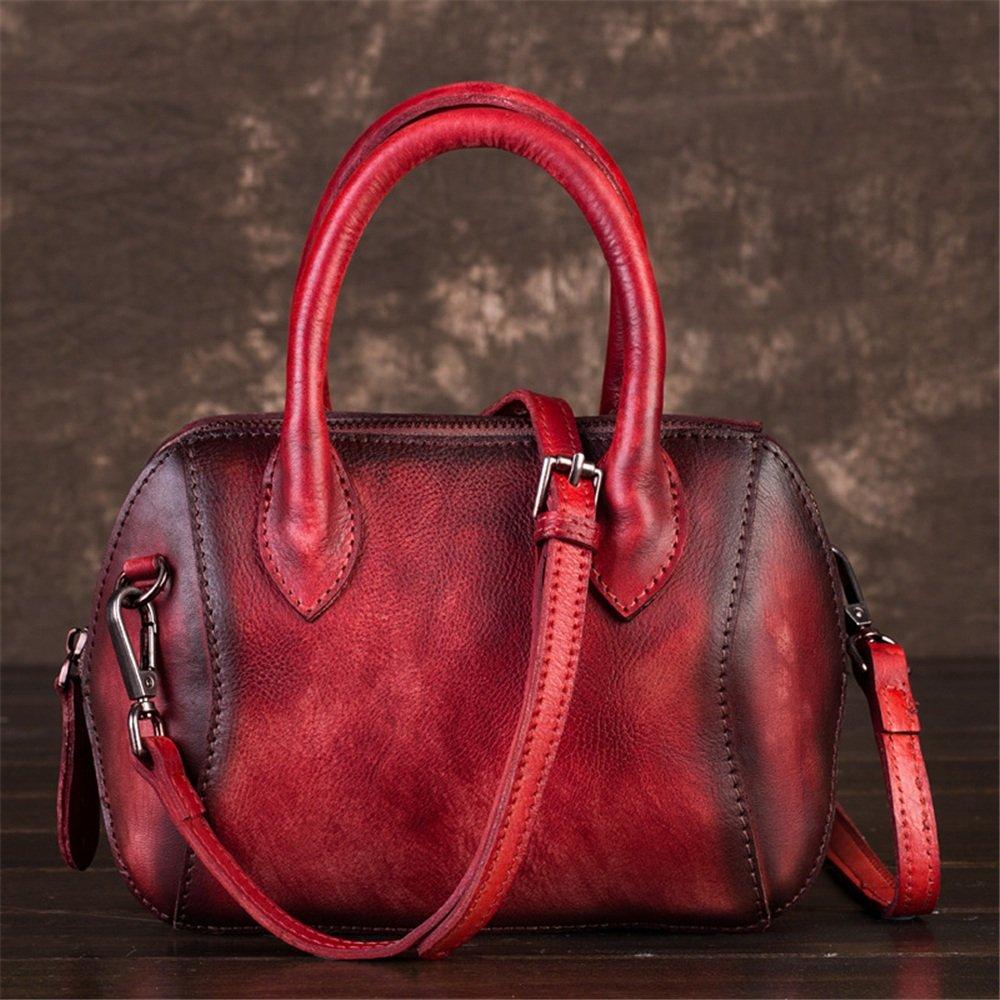 レトロ風の斜め斜めのハンドバッグレザーレディースシェルスモールトートバッグ (色 : 赤) B07HGNV3V5 赤 赤