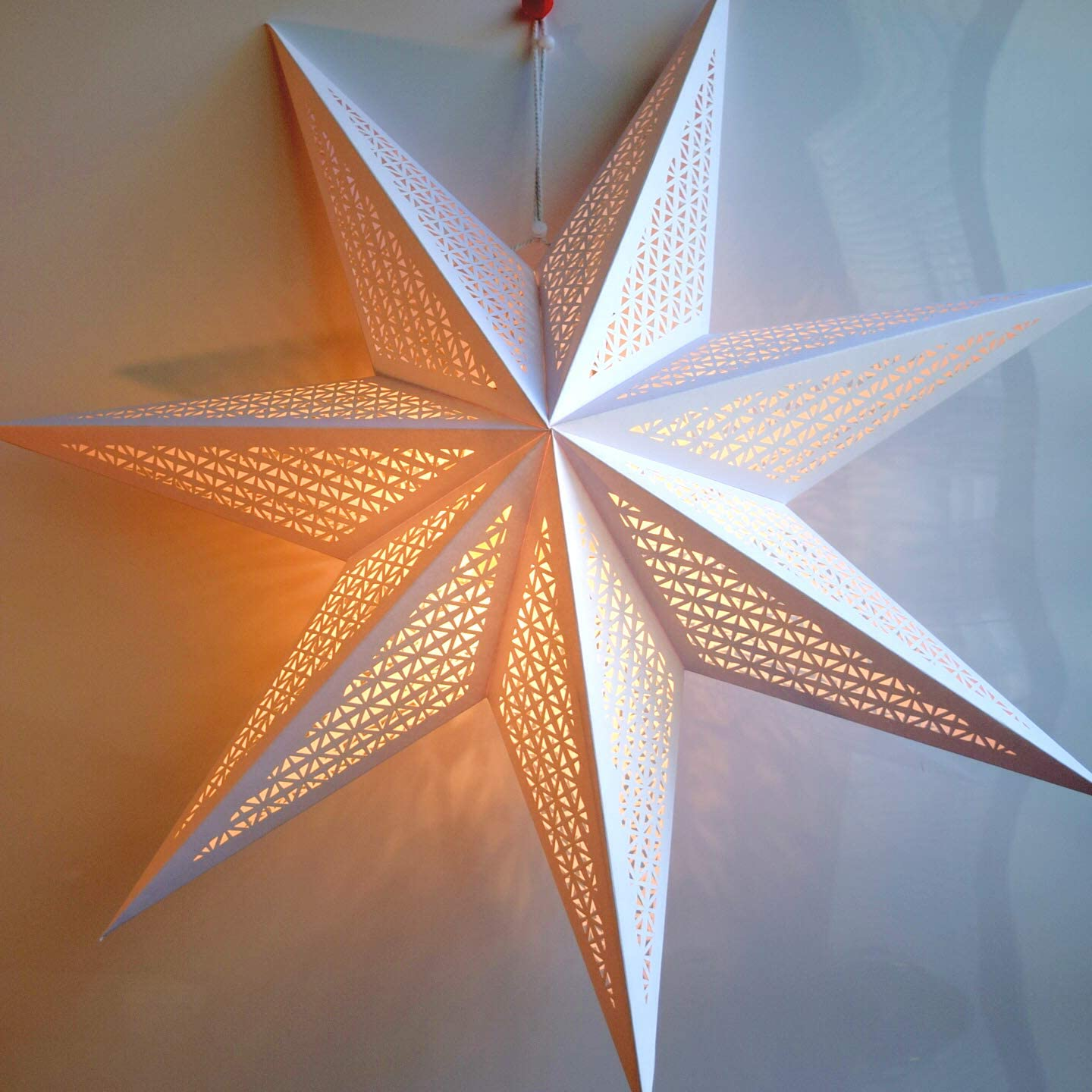 Paper Star Lantern Decoration (Cosmic White 7-Point Lighted Star) - Perfect for Weddings, Christmas Holiday, Birthday Party Celebration & Home Decor