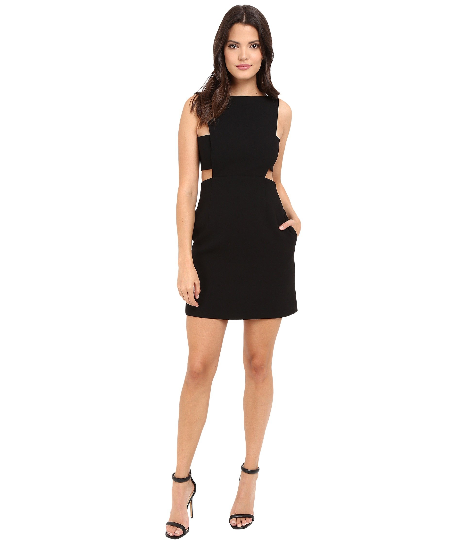 JILL JILL STUART Women's Short Crepe Dress with Cut Out Details Black Dress 14