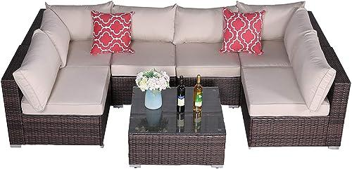 Furnimy 7 PCS Outdoor Patio Furniture Sets Garden Furniture Sets Sectional Furniture Set Wicker Conversation Sofa Set Deck Furniture Set Brown Rattan Couch