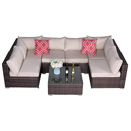 Furnimy 7 PCS Outdoor Patio Furniture Sets Garden Furniture Sets Sectional Furniture Set Wicker Conversation Sofa Set Deck Furniture Set Brown Rattan Couch with Cushions and Coffee Table Brown