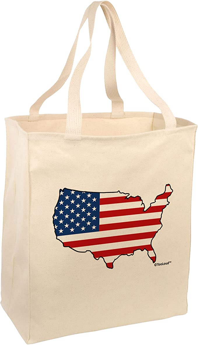 American Flag Design Collapsible Canvas Utility Laundry Storage Tool Bag NWT