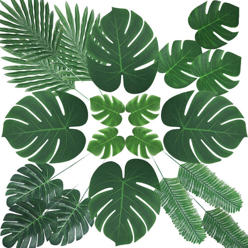 Artificial Plants Greenery Set of 66 for Home Decor,Wedding, Silk Fabric Green Topiary Faux Mixed Tropical Fan Palm Leaf for Table Outdoor,Decorative Indoor,Women Living Room,Aquarium,Balcony,Corner