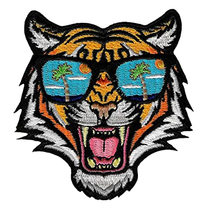 Tiger Sunglasses Patch Embroidered Iron-On Applique Roaring Bengal Souvenir