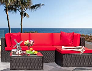 Tuoze 5 Pieces Patio Furniture Sectional Set Outdoor All-Weather PE Rattan Wicker Lawn Conversation Sets Cushioned Garden Sofa Set with Glass Coffee Table (red)