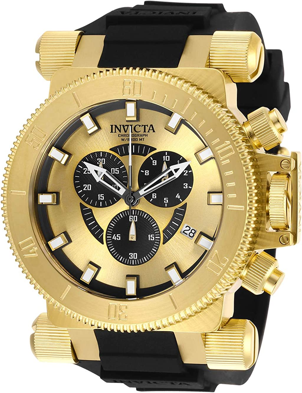 Invicta Men s Coalition Forces Stainless Steel Analog Quartz Watch with Silicone Strap, Black, 34.5 Model 27844