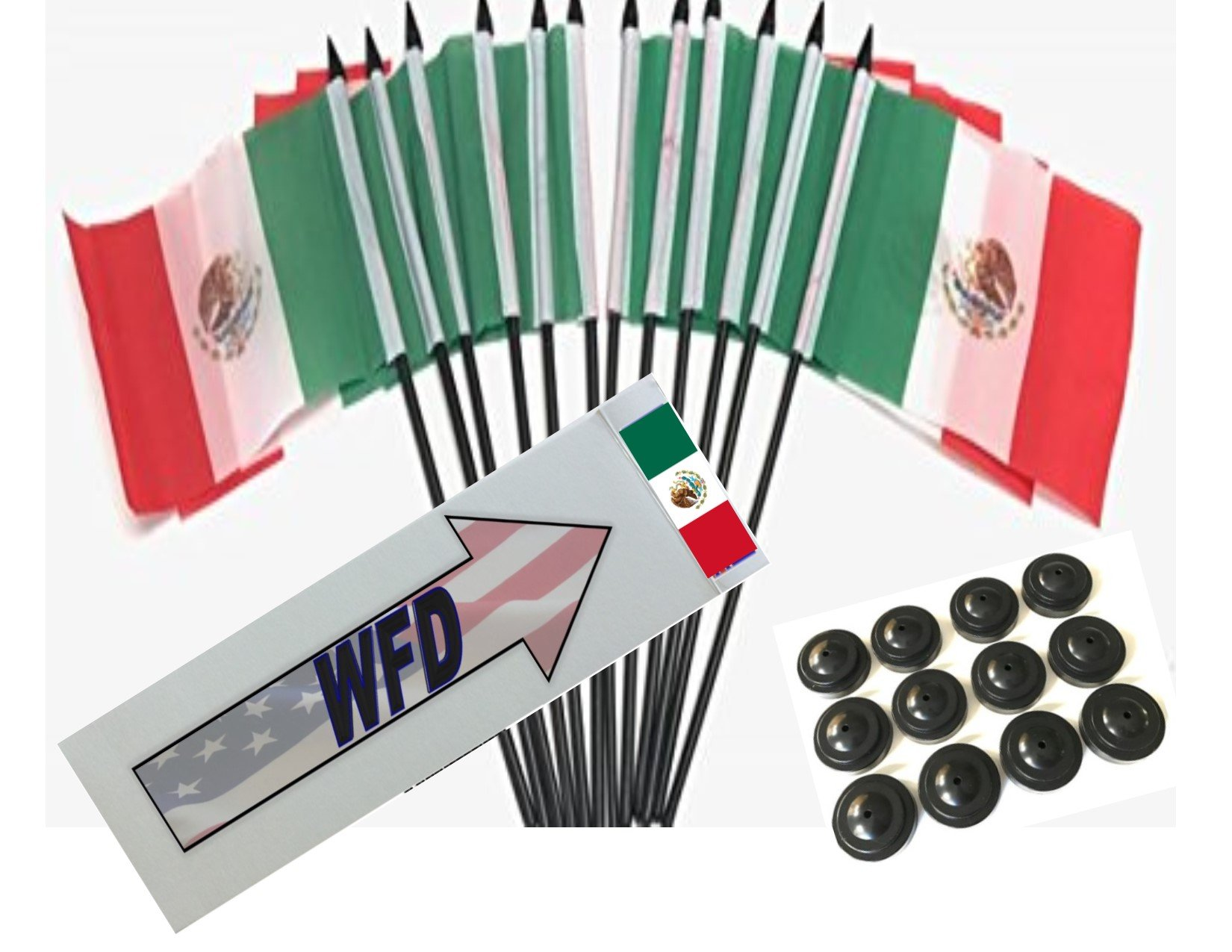 Box of 12 Mexico 4''x6'' Polyester Miniature Desk & Little Table Flags, 4x6 Mexican Small Mini Hand Waving Stick Flags with 12 Flag Bases (Stands)