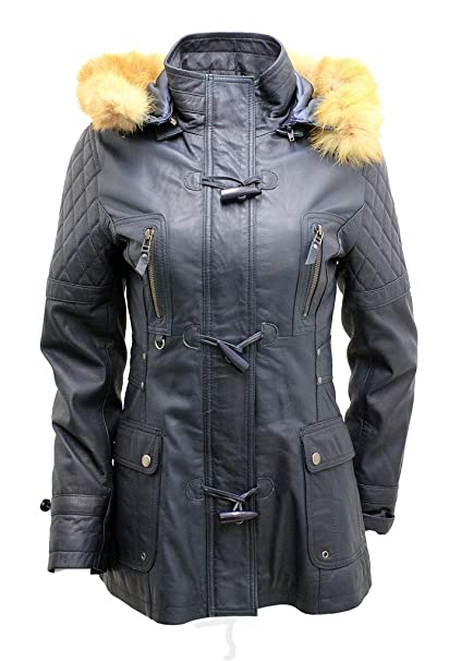 Infinity Womens Detachable Hood Quilted Navy Blue Leather ...