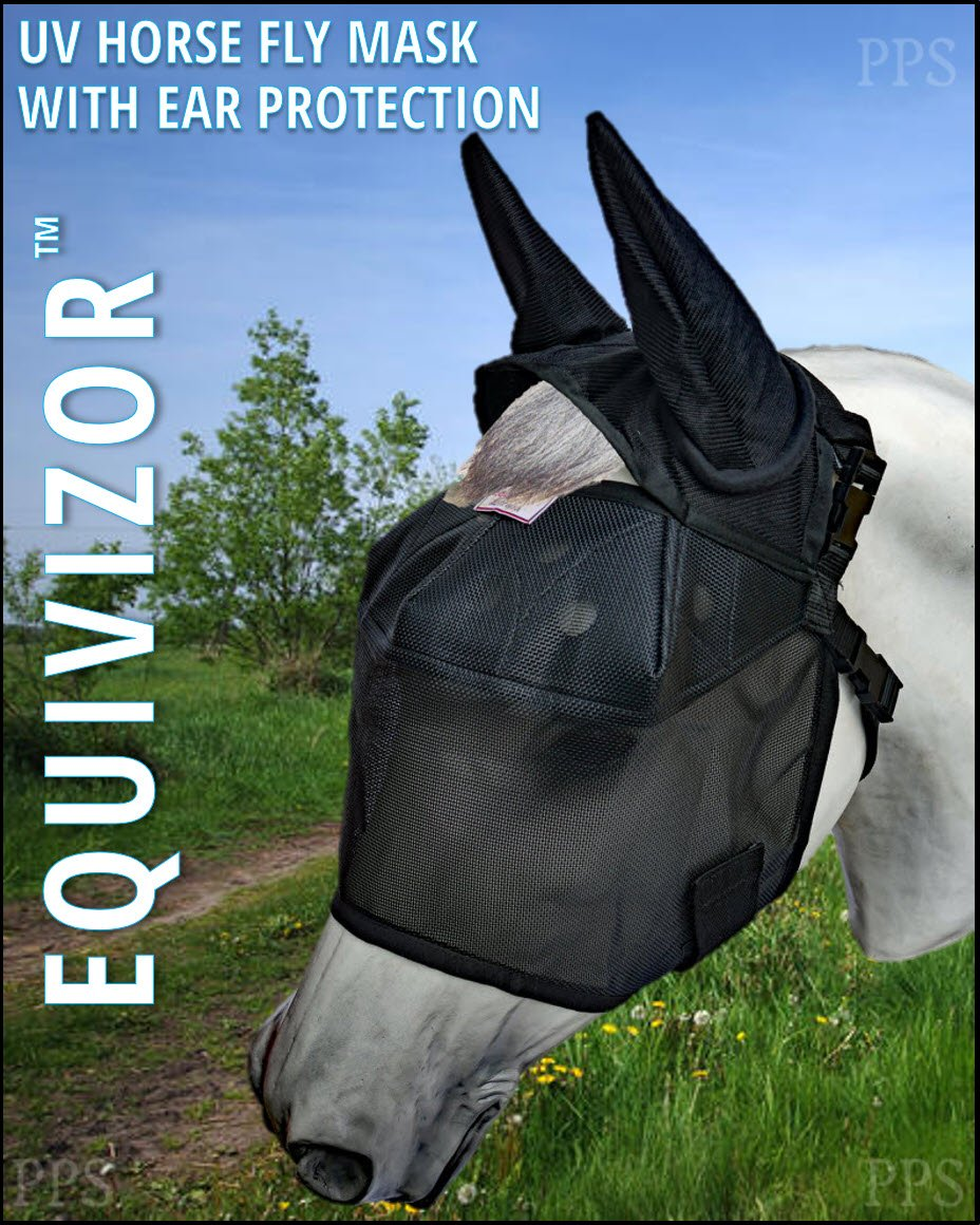 Equivizor 95% UV Eye Protection Horse Fly Mask (W/Ear Protection, Size: COB) Superior Protection from UV Rays and Biting Insects. Designed to Stay On Your Horse, Not The Ground by Equivizor