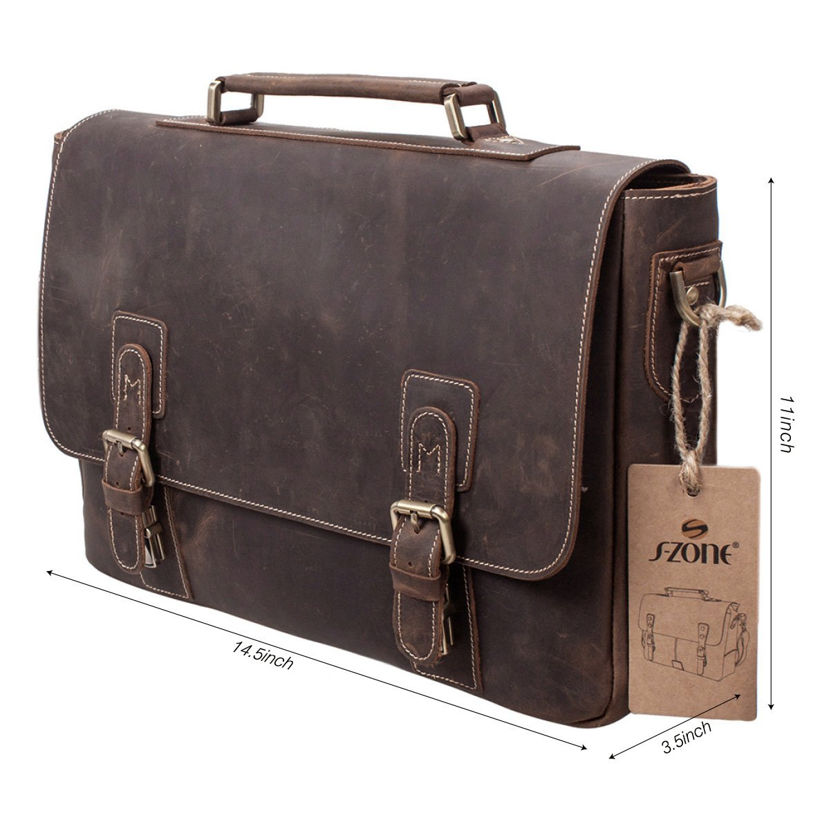 ... Charles Varsity Messenger Bag ... vintage coach carrier S-ZONE Mens  Crazy-Horse Leather Business Briefcase shoulder laptop Bag (Dark Brown ... 63cf25b417