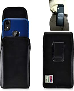 product image for Leather Cell Phone Pouch for iPhone XR (6.1in) Executive Rugged and Heavy Duty Holster W/Fixed Belt Clip Holder, Fits with Otterbox Defender/Commuter Case On Smartphone - TB (Vertical-Blk Fixed Clip)