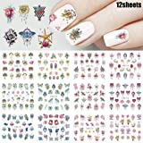 Macute Nail Decals Nail Art Stickers for Women & Girls Watermark Nail Art Designs Supplies Flower Rose Butterfly Chain Pendant Gemstone Pattern Decals for Fingernails & Toenails Decorations 12 Sheets